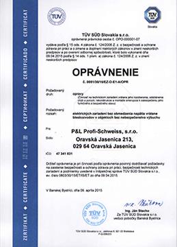 Certifikát - P&L Profi-Schweiss, s.r.o.
